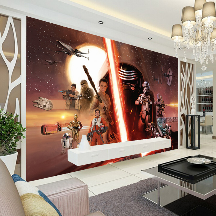 3D Star Wars Wallpaper Force Awakens Wall Mural Custom Photo Boys Bedroom Hotel TV Background Covering Room Decor In Wallpapers From Home