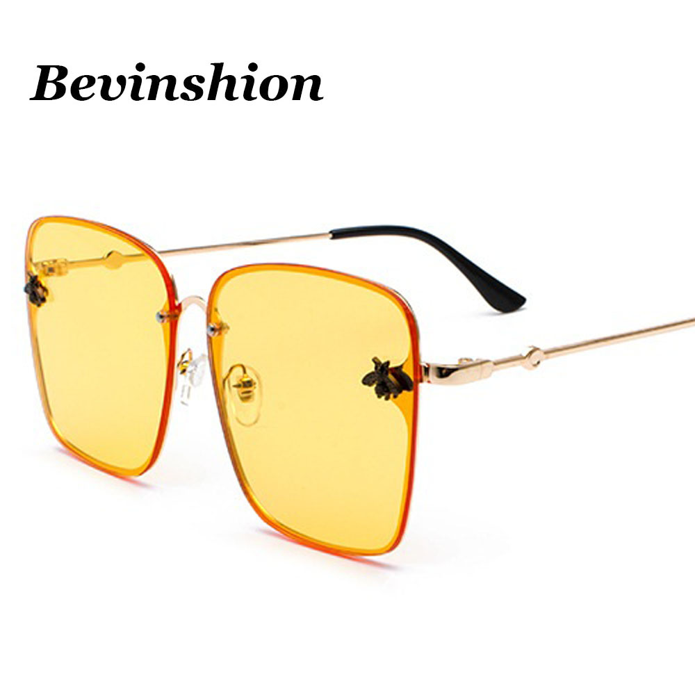 4048e944cc Korean New Fashion Big Frame Square Sunglasses 3D Small Bees Relief Yellow  Pink Lens Color Metal