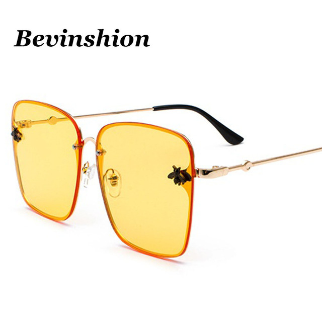 0c8e4b1fa1b7 Korean New Fashion Big Frame Square Sunglasses 3D Small Bees Relief Yellow  Pink Lens Color Metal
