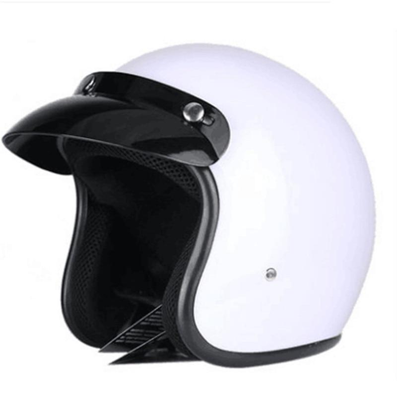 Casque moto rcycle blanc jet Vintage casque visage ouvert rétro 3/4 demi casque casco moto capacete rétro moto cross moto rcycle