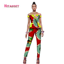 African Woman Clothing 2 Pieces Set Straight Pants Sets Dashiki Print Slash Neck Coat Crop and Skirt Sets African Clothes WY1642 bazin riche men 2 pieces pants sets african clothes casual men jacquard pattern patchwork top shirt and pants sets wyn767