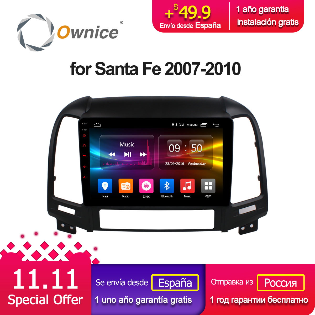 Ownice C500 + G10 Android 8.1 Octa base pour Hyundai Santa Fe 2007-2010 Voiture DVD gps raido audio navi lecteur 32g ROM 2g RAM 4g SIM