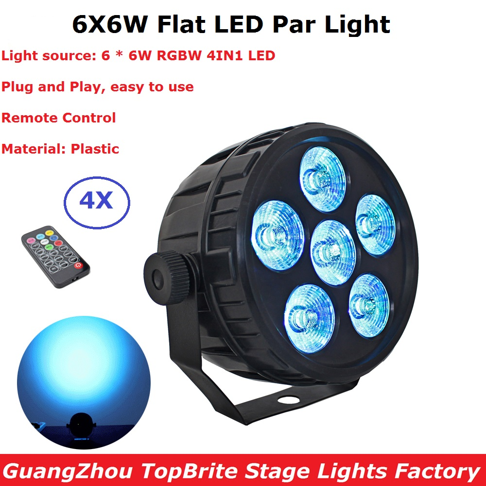 4XLot Factory Sales 2018 LED Flat Par Lights 6X6W 4IN1 RGBW Mini LED Par Cans EU/US Plug For Club Party Stage Disco DJ Lighting