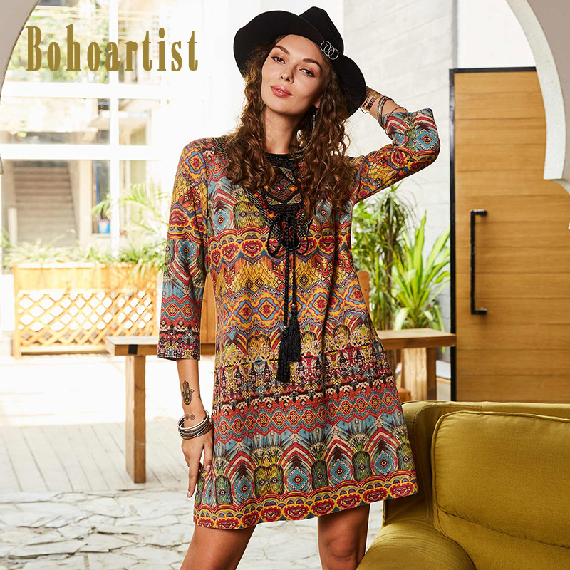New Arrivals Fashion Women Dress Relaxed Fit Dresses Bohemian Style Ladies Clothes with Flower Embroidery A Line Tassel Strap Up
