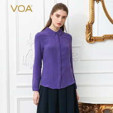 VOA 2018 Spring Purple Plus Size Office Lady Heavy Silk Blouse Slim Brief Basic Formal Shirt Solid Long Sleeve Women Tops B2136
