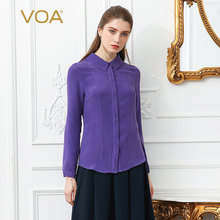 66752006086bb VOA 2018 Spring Purple Plus Size Office Lady Heavy Silk Blouse Slim Brief  Basic Formal Shirt Solid Long Sleeve Women Tops B2136