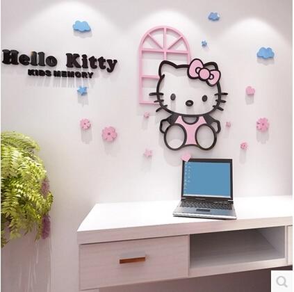 HELLO KITTY 3D akrilo kt katės krištolo trimatis lipdukas - Namų dekoras - Nuotrauka 2
