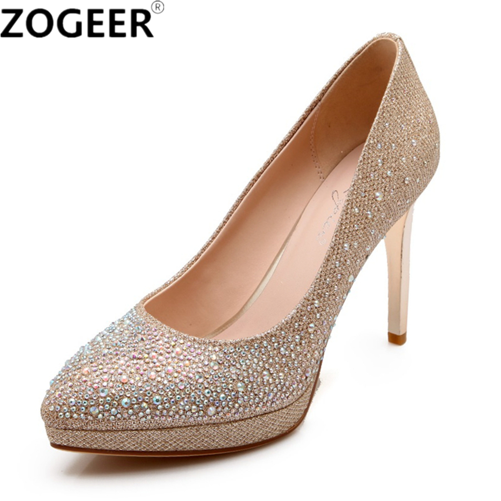 Genuine Leather Women Pumps Fashion Luxury Rhinestone High Heel Gold Silver Wedding Shoes Platform Party Office Shoe Woman