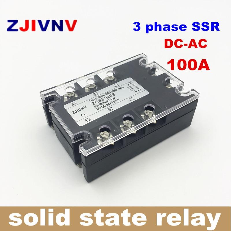 цена на Three phase solid state relay DC-AC 100A 3P SSR 100DA ,DC Control ac ZG33-3100B Zero crossing