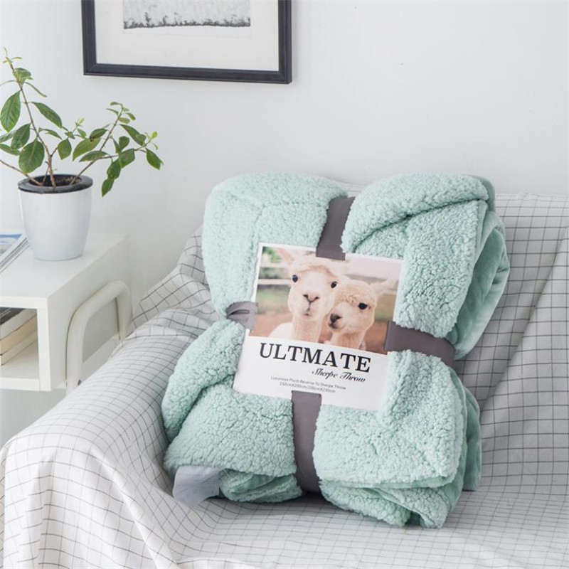 Baby Blanket 1.5kg Thick Double Wool Throw For Sofa Bed Winter Lamb Cashmere Blanket Super Soft Plush Plaid Blankets Baby Gifts
