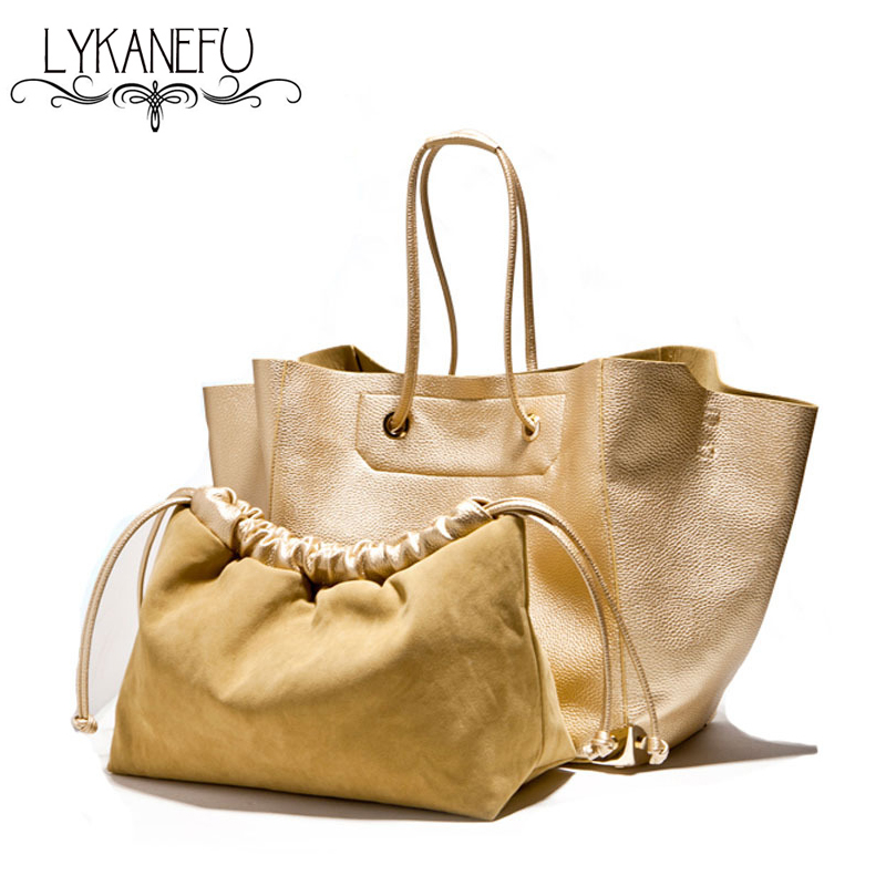 ФОТО LYKANEFU Large Gold Style Women Leather Handbags Ladies Bags Handbags Women Famous Brands Tote Shouder Purse Bolsas Femininas