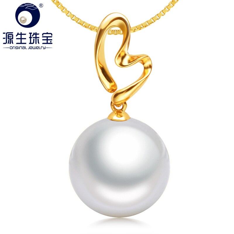 YS Super grand 14-15mm véritable pendentif en perles d'eau douce de culture naturelle pendentif en or massif 18 K pour l'engagement