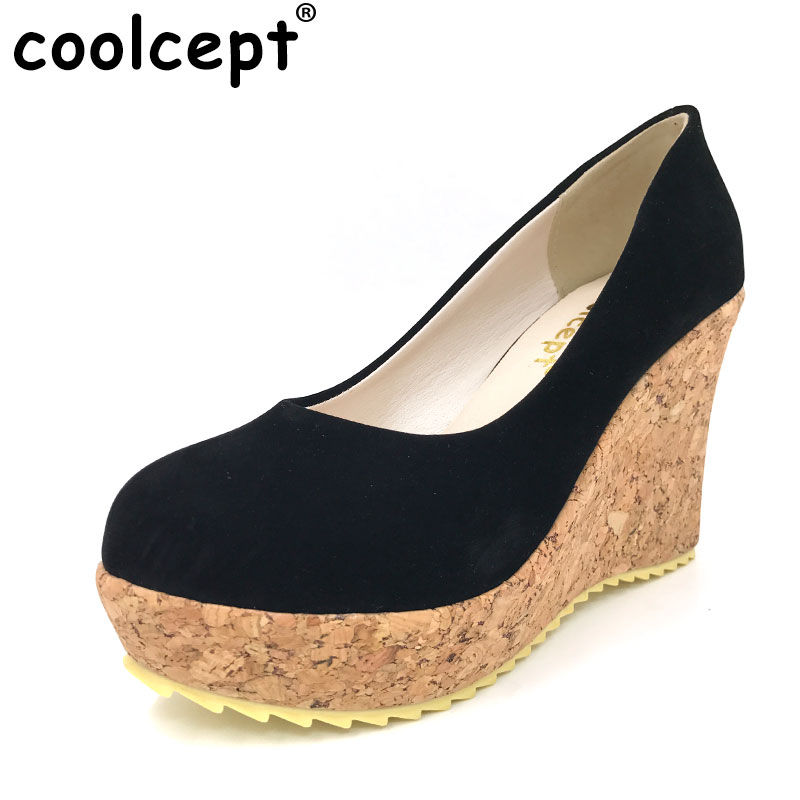 Coolcept free shipping high heel wedge shoes platform women sexy dress footwear fashion pumps P13077 hot sale EUR size 31-43 hot sale brand ladies pumps sexy women high heels platform sexy women high heel pumps wedding shoes free shipping 2888 1