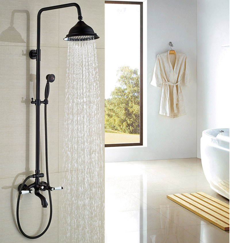 Swivel Spout Oil Rubbed Broze Round Shower Head Faucet Bathroom Shower Set W/Hand Shower Tap