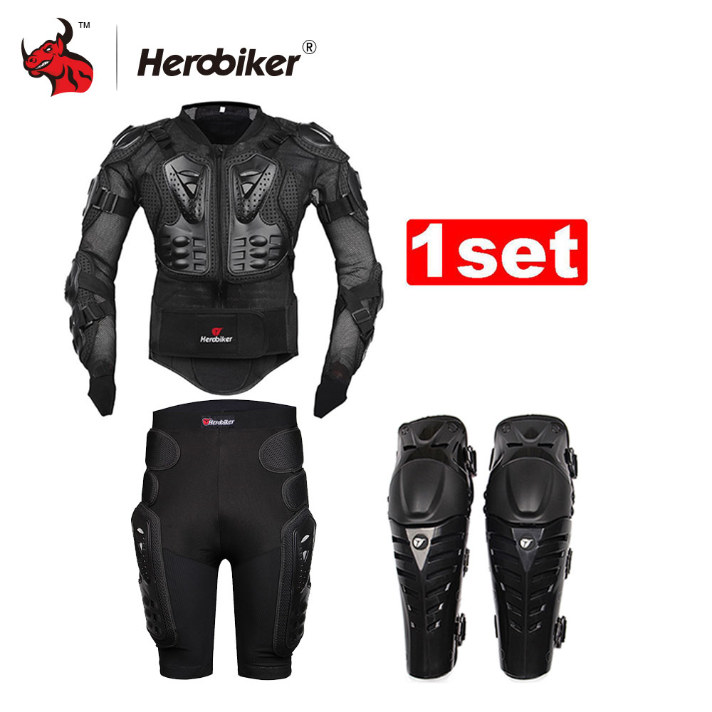 HEROBIKER Motocross Racing Motorcycle Body Armor Protective Jacket+Gears Short Pants+protective Motorcycle Knee Pad Moto Armor защита для мотоциклиста racing motocross knee protector pads guards protective gear