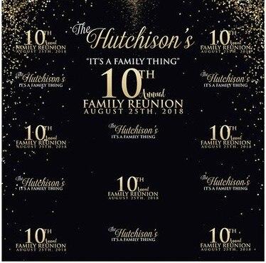 Personnalisé Famille Réunion 10th 20th D'anniversaire Paillettes Noir photo Ordinateur imprimer parti fond