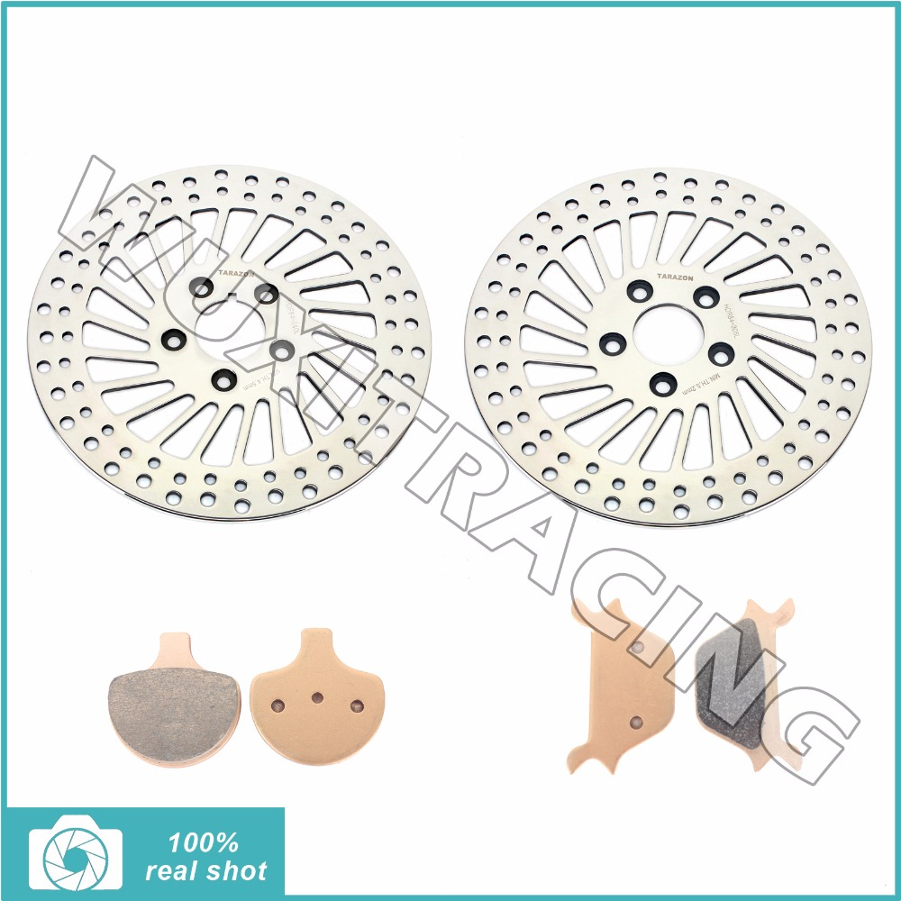 Front Brake Discs Rotors & Pads for HARLEY Sportster 883 1100 1200 XLH FLSTC FLSTF FLSTS 1340 Heritage Softail 90 91 92 93 94 95 цена и фото