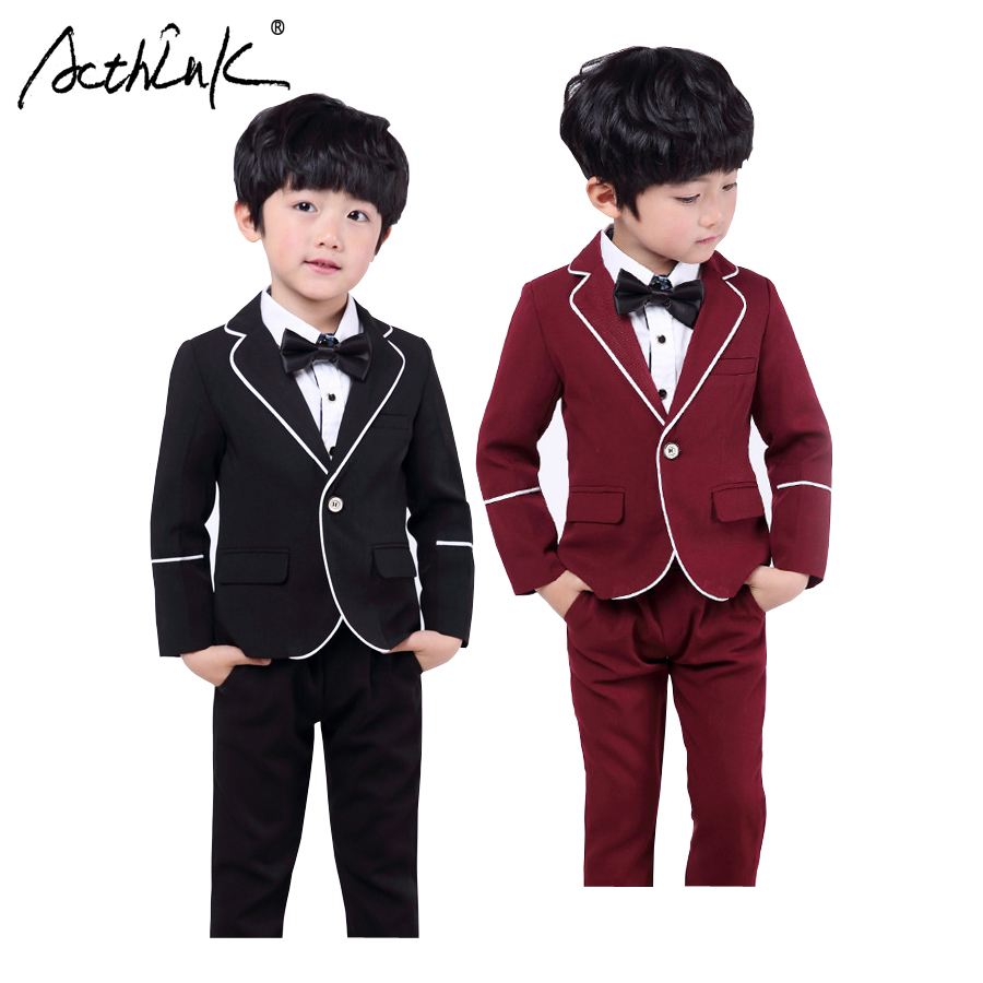 ActhInK New Boys Blazer Suits with Shirts Kids Wedding Costume Boys Solid Tuxedo with Bowtie Children Spring Formal Clothing SetActhInK New Boys Blazer Suits with Shirts Kids Wedding Costume Boys Solid Tuxedo with Bowtie Children Spring Formal Clothing Set