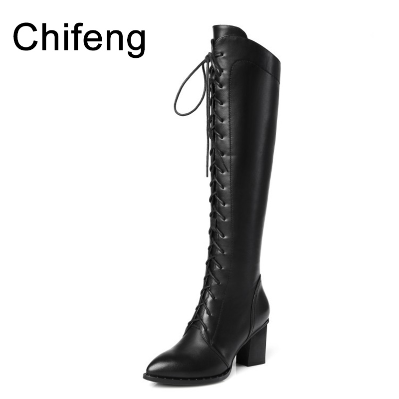 women's black boots over the knee woman shoes winter womens high heel genuine leather boot fashion 2017 women shoe dijigirls new autumn winter women over the knee boots shoes woman fashion genuine leather patchwork long high boots 34 43