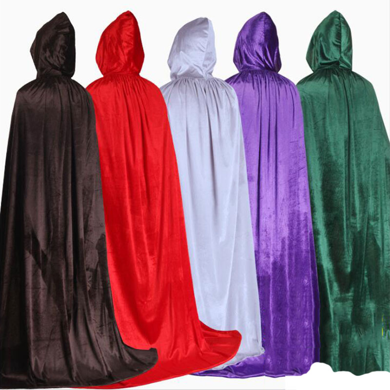 Halloween Hooded Capes for Adult Kid Long Cloaks Cosplay Costumes Witch Red Black Purple Green Cape for Women Men