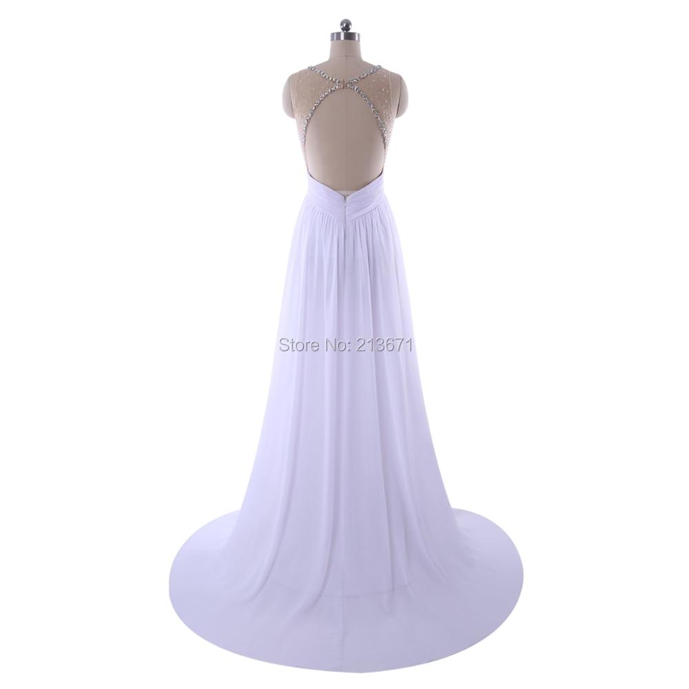 Baijinbai Elegant Real A-Line Evening Dresses Beading Crystal robe de soiree longue White Formal Evening Gowns VestidosS121407