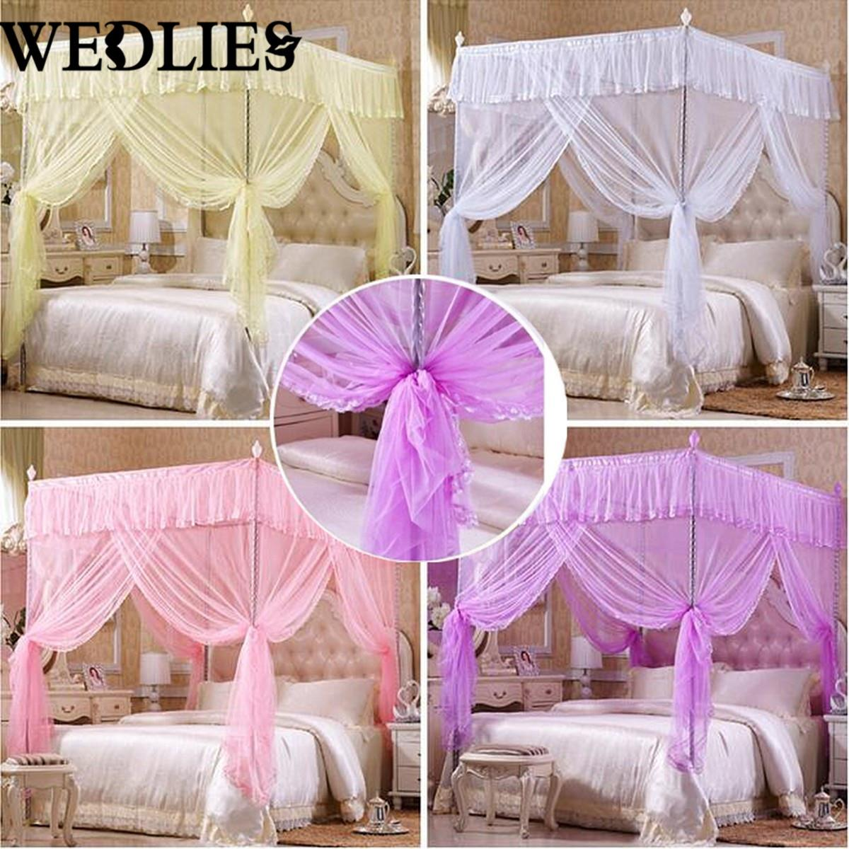 four corner post bedding canopy mosquito netting without frame white luxury princess freestand bed mosquito tent net full size - Cheap Full Bed Frames