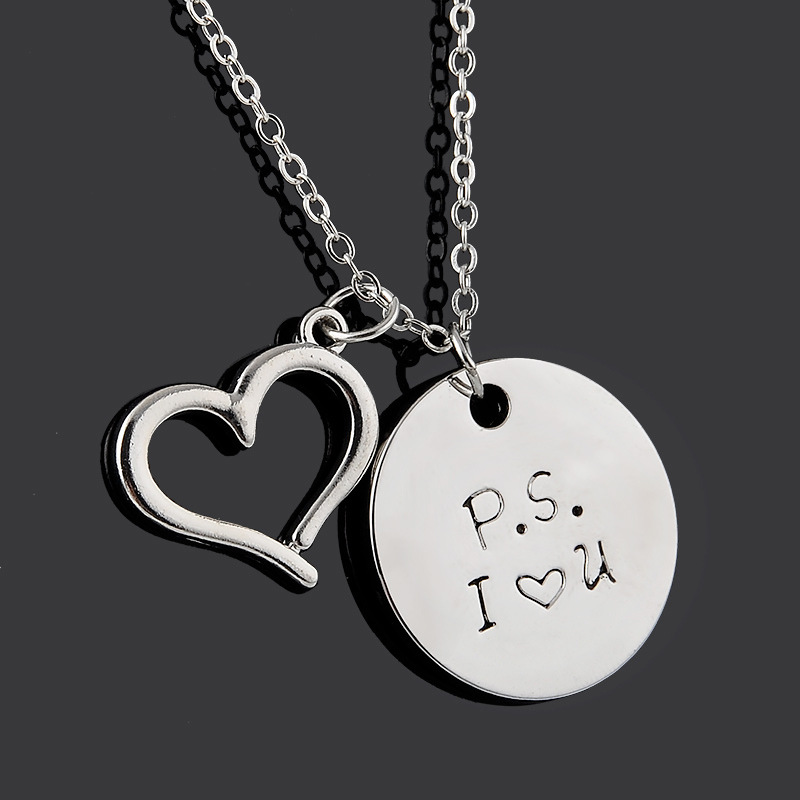 Bespmosp 24PCS/Lot Wholesale Delicate Hand StampedP.S. I Love You Heart Pendant Necklace Couple Lover Family Jewelry Charms