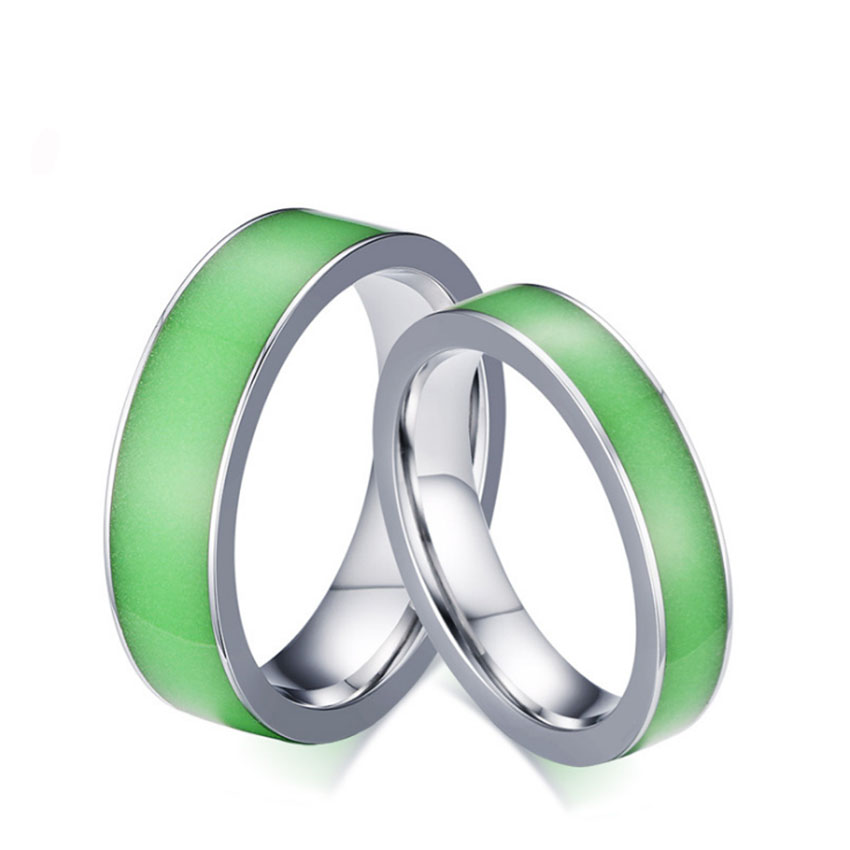 Green silicone luminous mood glow in the dark rings womens for Glow in the dark wedding rings