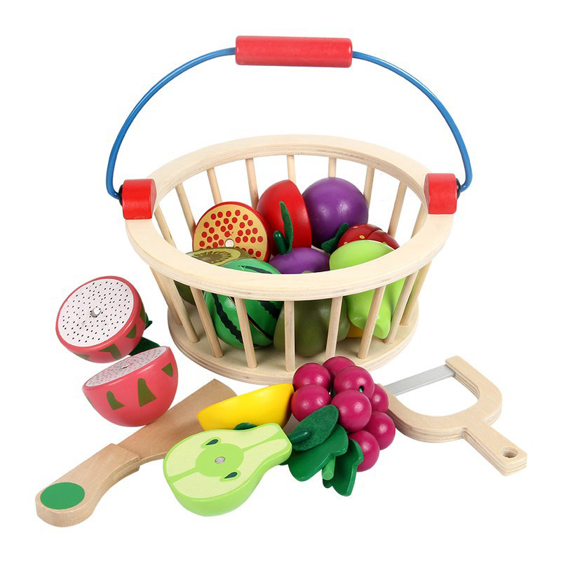 Wooden Children Toys Wood Basket Cutting Fruit Vegetable Game Kitchen Mini Vegetable Fruit Model Kids Baby Educational Toys galliano сабо