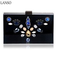 Luxury Dress Dinner Bag Exquisite Floral Diamond Acrylic Clutch Bag Nightclub Evening Bag For Wedding Bridal
