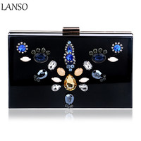 Luxury Dress Dinner Bag Exquisite Floral Diamond Acrylic Clutch Bag Nightclub Evening Bag For Wedding Bridal