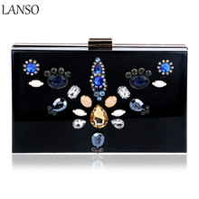 Luxury Dress Dinner Bag Exquisite Floral Diamond Acrylic Clutch Bag Nightclub Evening Bag For Wedding Bridal Party Wallet