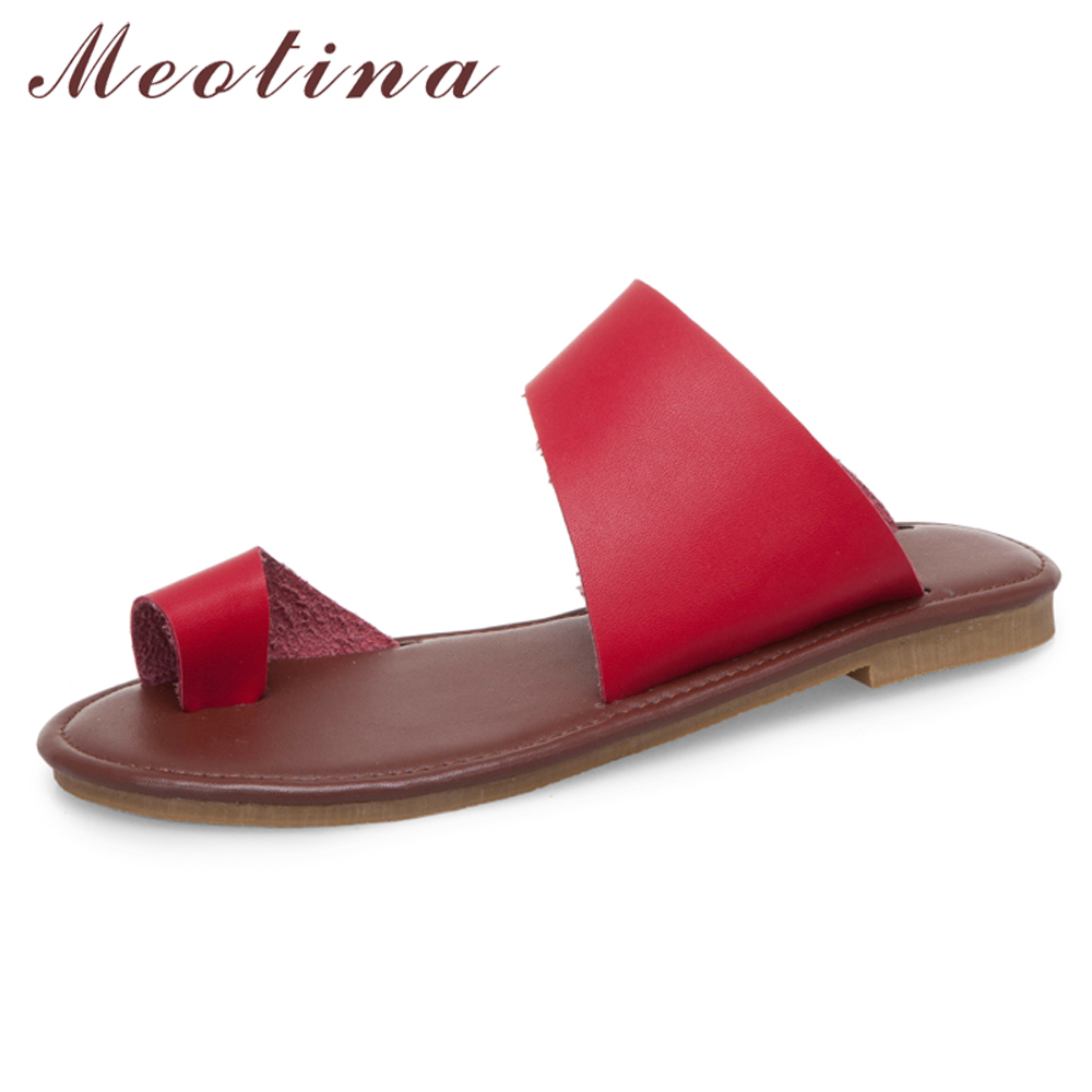 Meotina Women Slides Summer Shoes Casual Flat With Flip Flops Shoes Open Toe Slippers Ladies Sandals Red White Plus Size 34-43