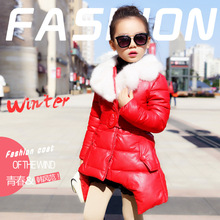 Baby Girls Winter PU Leather Parkas Coats Children Outerwear Fur Collar Kids Clothing Belt Warm Thick