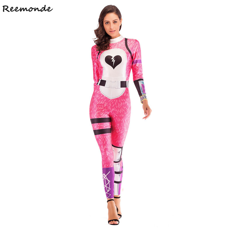 Games Fortnight Cosplay Costume Pink Ladies Bodysuit 3D Printing Black Skull Zentai Suit Jumpsuits For Adult Women Clothings