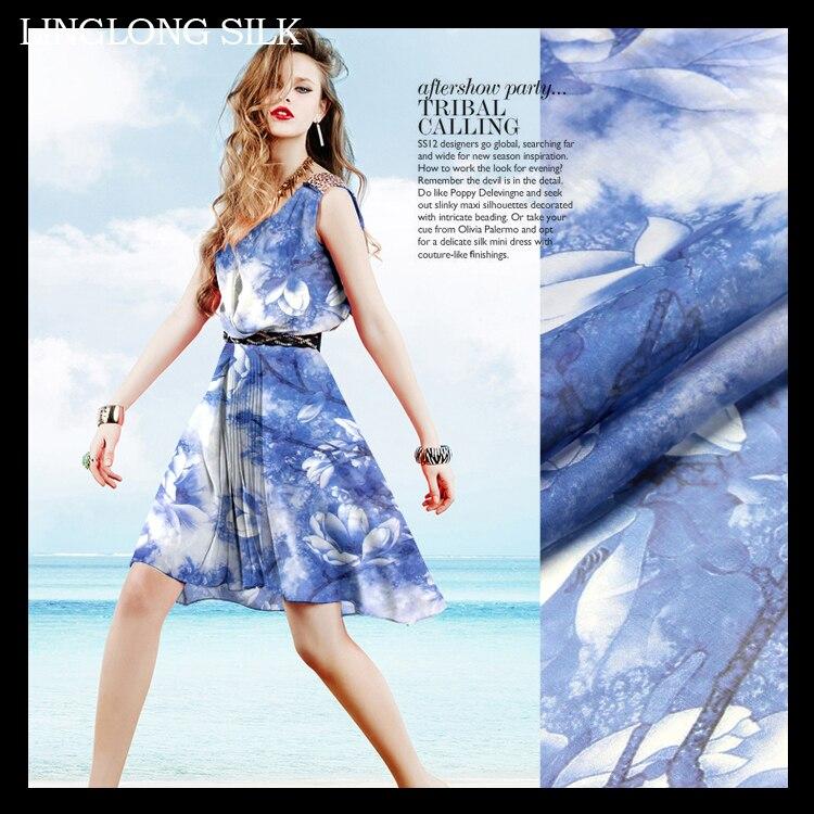 Mousseline de soie imprimée 135 cm largeur 8 momme/100% mousseline de soie Pure naturelle pour la couture 2016 printemps nouvelle robe imprimée de haute qualité-bleu