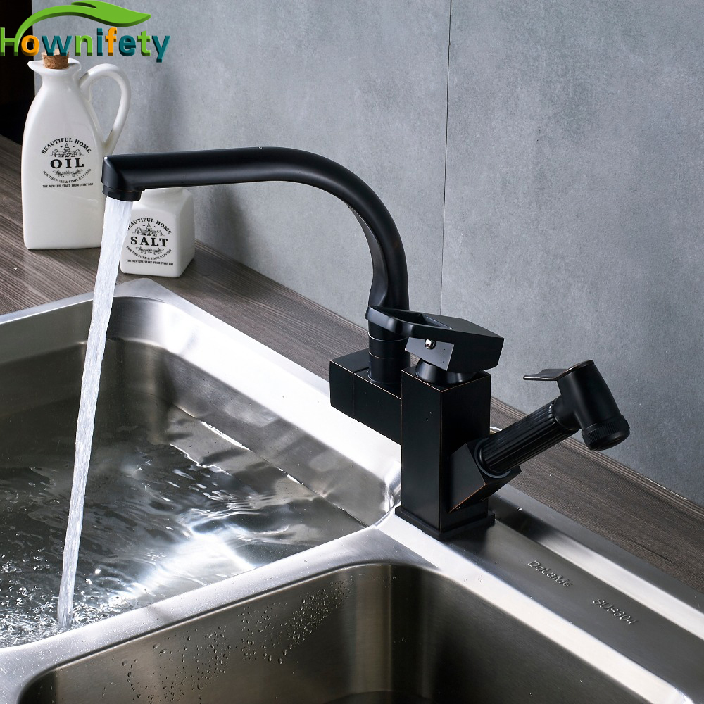 Solid Brass Square Style Kitchen Sink Faucet 360 Degree Swivel Pull Out Kitchen Crane 2 Ways Water Outlet Mixer Tap pull out kitchen faucet black oil brushed kitchen sink mixer tap 360 degree rotation kitchen mixer taps kitchen crane