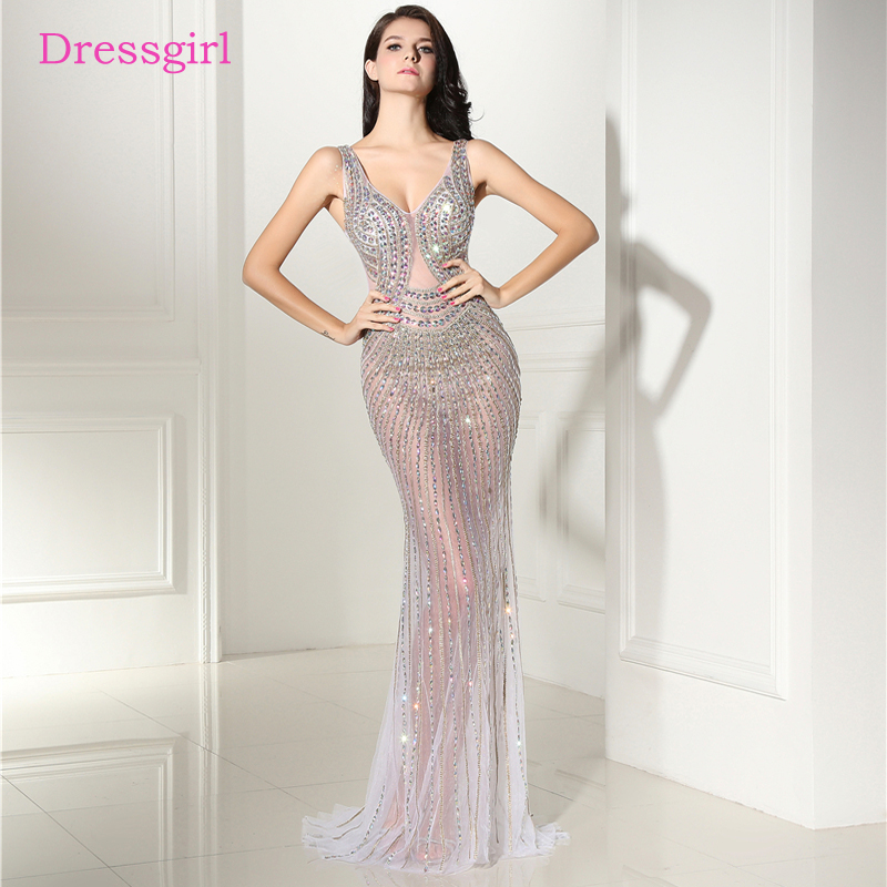 Sexy 2018 Prom Dresses Mermaid V Neck Tulle Crystals See