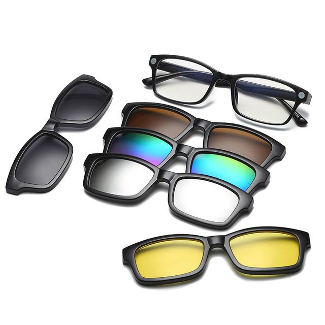 5 lens Clip on Sunglasses clip on glasses square Lens Men Women mirror clip Sun Glasses Night Vision Driving sunglasses for men