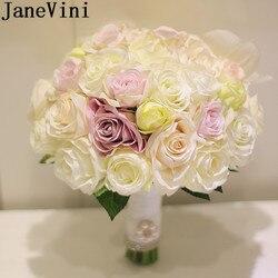 JaneVini النمط الغربي الاصطناعي الزفاف باقة حامل اللؤلؤ الحرير روز خطاباتخطابهزوجات العاج الوردي الزهور باقات زفاف للعرائس