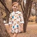 Moda primavera búho bebé otoño de la muchacha del enfant bata fille impresión estilo europeo princesa del vestido del bebé grils del partido
