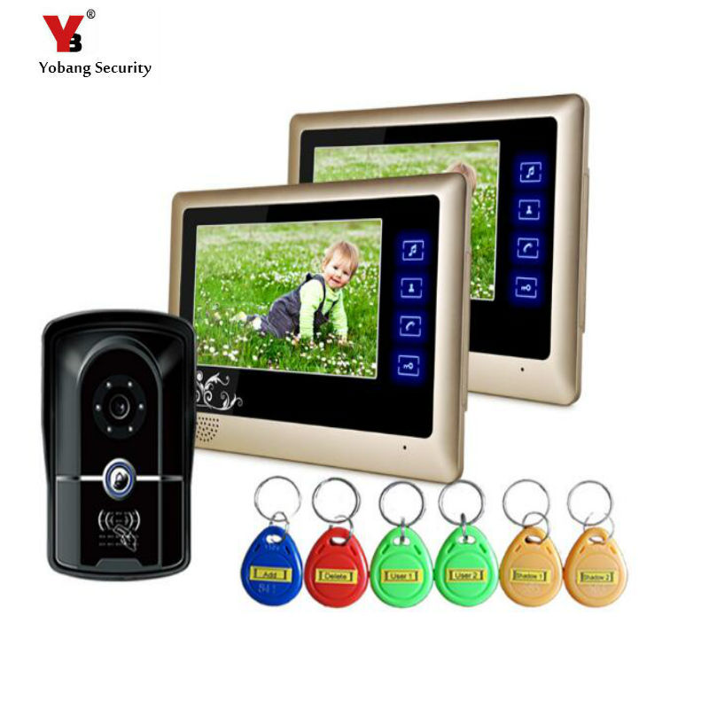 Yobang Security freeship 7 Video Intercom for villa 2 Monitor Doorbell Camera with 5pcs RFID cards HD Doorbell Camera In Stock 7 inch video doorbell tft lcd hd screen wired video doorphone for villa one monitor with one metal outdoor unit night vision