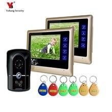 Yobang Security freeship 7″ Video Intercom for villa 2 Monitor Doorbell Camera with 5pcs RFID cards HD Doorbell Camera In Stock