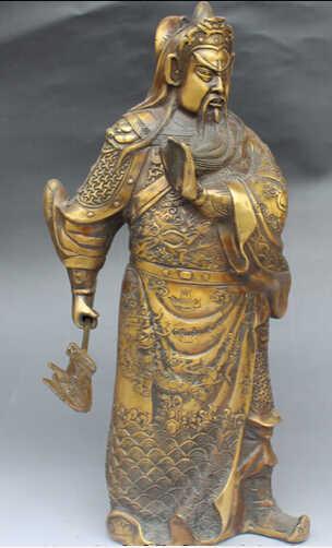 """Бесплатная доставка 15 """"Китайский Бронзовый Стенд Дракон Гуань Юй Воин Бог Держите меч нож статуя"""