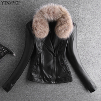 YTNMYOP Women Slim Fashion Faux Leather Jacket Real Fur Collar Leather Clothing Outerwear Autumn And Winter Leather Coat Suede
