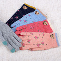 Oso lindo Con Flores de Impresión de Invierno Moda Mujer Guantes Gants Femme Hiver Luvas de inverno de Rosa/Azul/Azul Marino del Color del caramelo de Mano de Guerra
