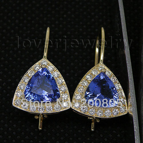 Vintage Trillion 8mm 14kt Yellow Gold Diamond Blue Tanzanite Earrings We007b