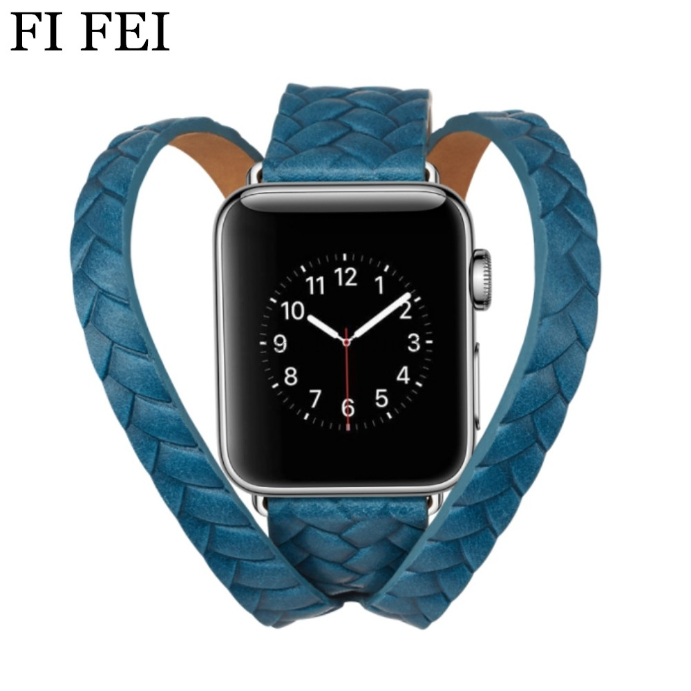 FI FEI NEW Woven Leather Band For Apple Watch 38mm 42mm Strap Double Tour Buckle Cuff WatchBand Bracelet Series 3 2 1 38 42 MM new style double buckle cuff genuine leather strap for apple watch 38mm 42mm with 1 1 original metal adapters fit series 1 and 2