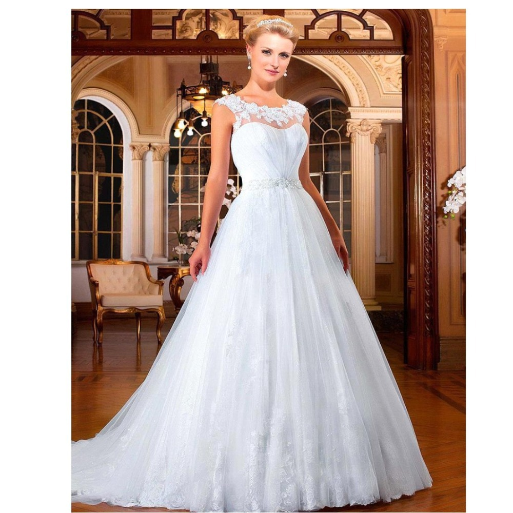 Trendy simple A Line Wedding Dresses Cap Sleeve White Bridal gown ...