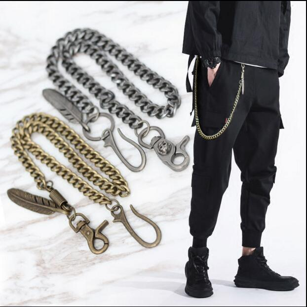 Mens Black Gun Extra Long Wallet Chains Thick Metal Cuban Curb Links KeyChain Black Leather Skull Jeans Chunky Biker Chain -80cm